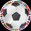 Футбольный мяч и флаги сборных стран участников чемпионата 2018