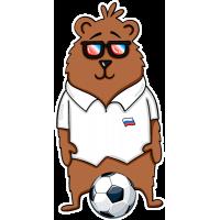 Медведь Хипстер Болельщик За Российскую Сборную По Футболу На Чемпионате 2018