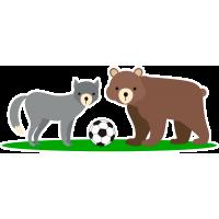 Медведь, волк и футбольный мяч