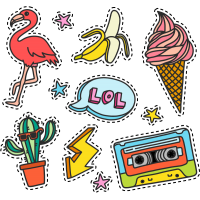 Тату Набор Веселые Стикеры Кассета LOL Банан Фламинго Молния Кактус Мороженое