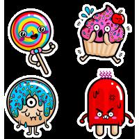 Тату Набор Веселые Стикеры Еда Мороженое Конфета Пончик