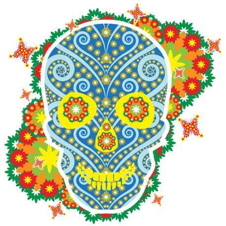 Череп Цветочный Флористический Тату