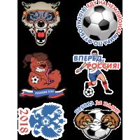Набор Стикеры Чемпионат Мира По Футболу Мяч Волк Победа Герб