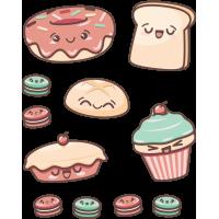 Набор Стикеры Пирожные Кекс Тост Пончик