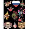 Набор Стикеры Флаг Сердце Череп Нож Кот